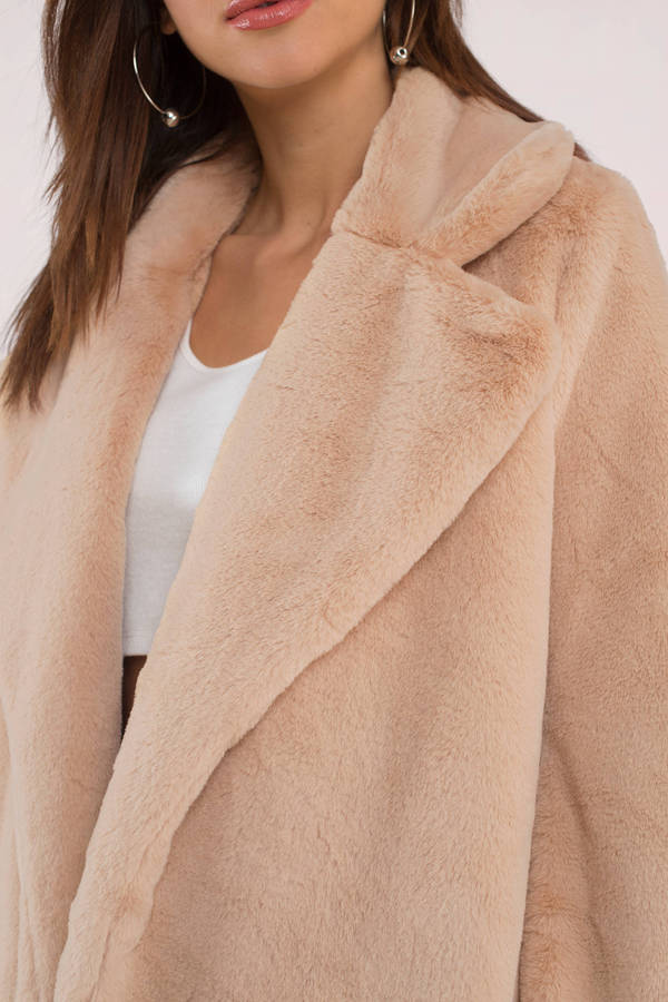 b95ff11d4 Warm Beige Coat - Oversized Faux Fur Coat - Beige Faux Fur Coat - C ...