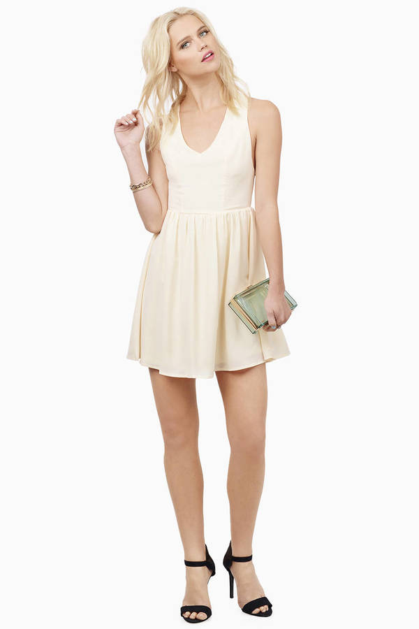 b84c02e239a3 Cream Skater Dress - Green Dress - Deep V Dress - Sea White Dress ...