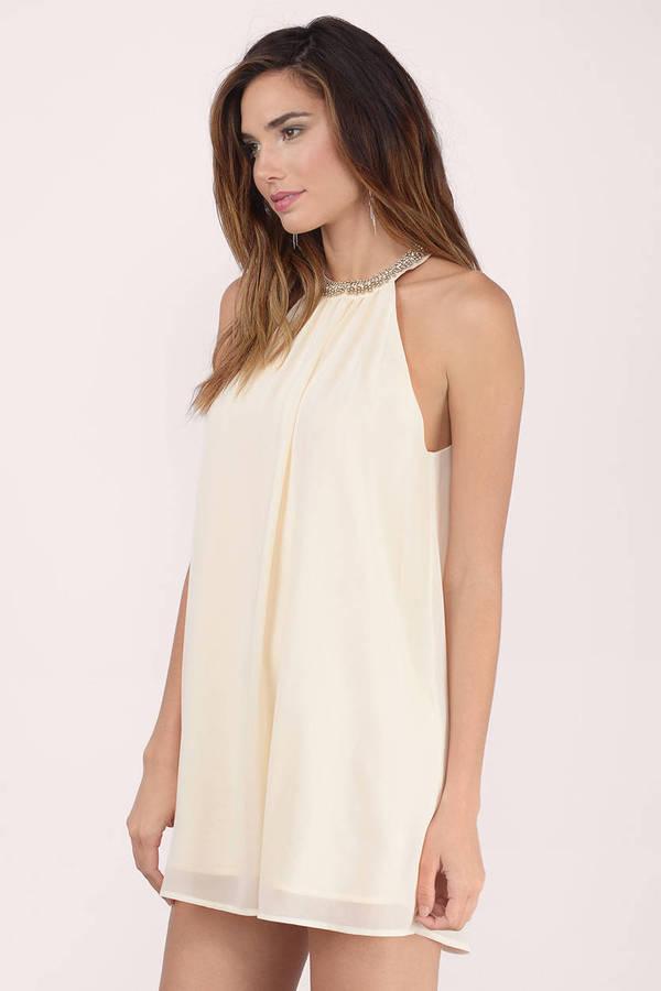 Enaya Cream Chiffon Shift Dress