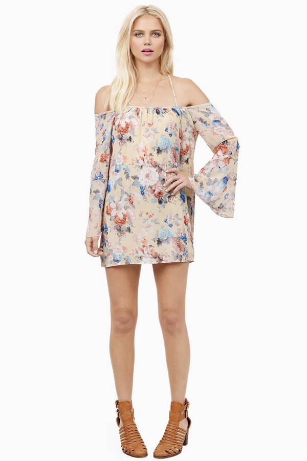 Cream Floral Shift Dress - White Dress - Floral Print Dress - $8.00
