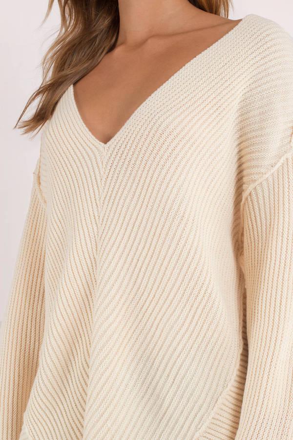 0b2d4e3f67 Cute White Sweater - Deep V Sweater - Oversized White Sweatshirt ...