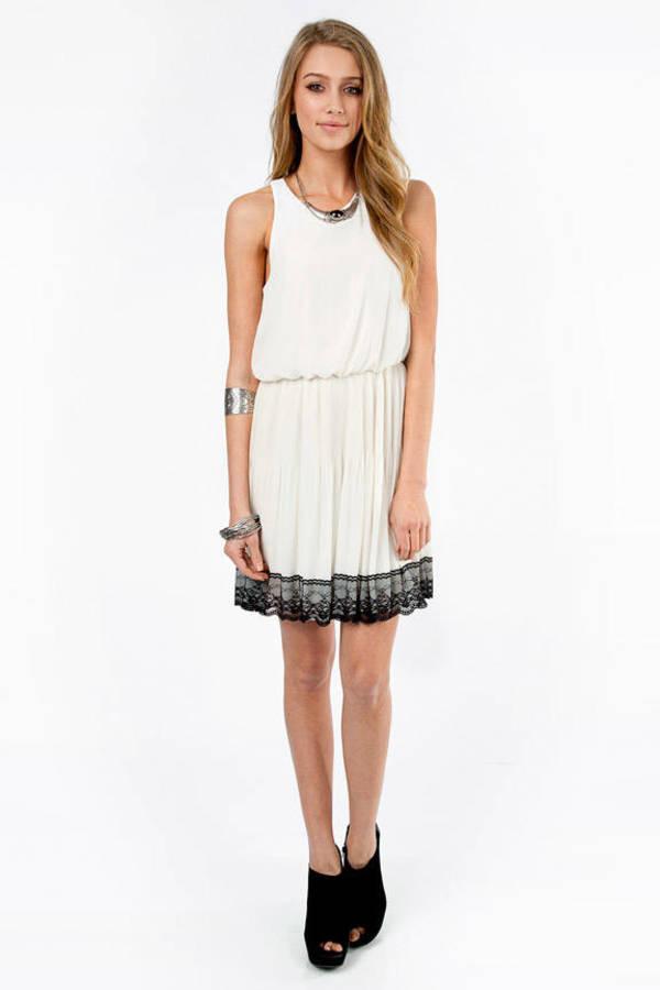 Lace Trim Flowy Dress