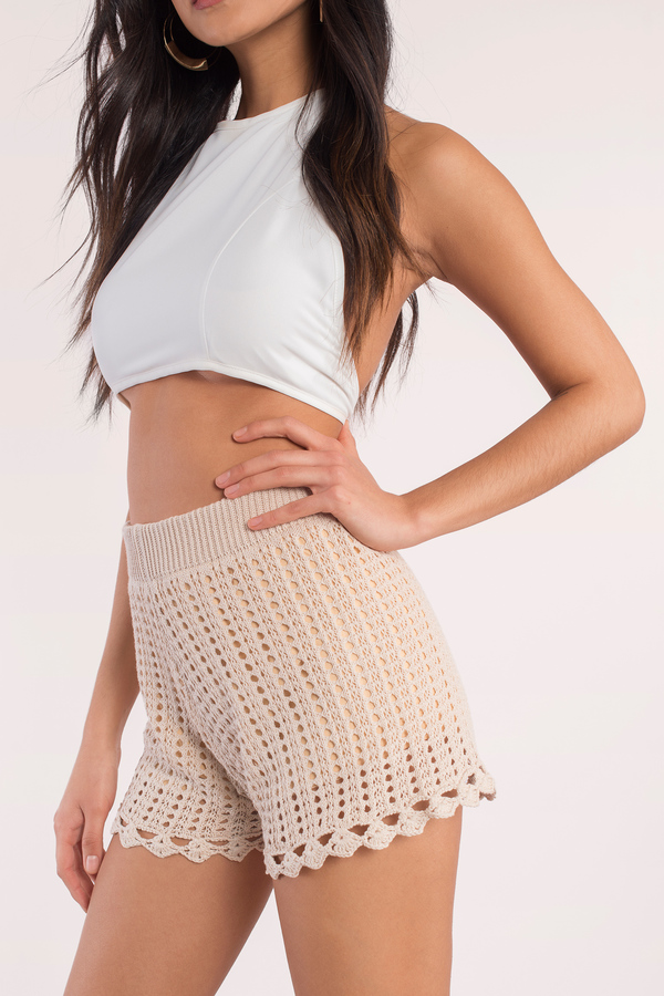 Cute Cream Shorts - High Waisted Shorts - Crochet Shorts - Cream ...