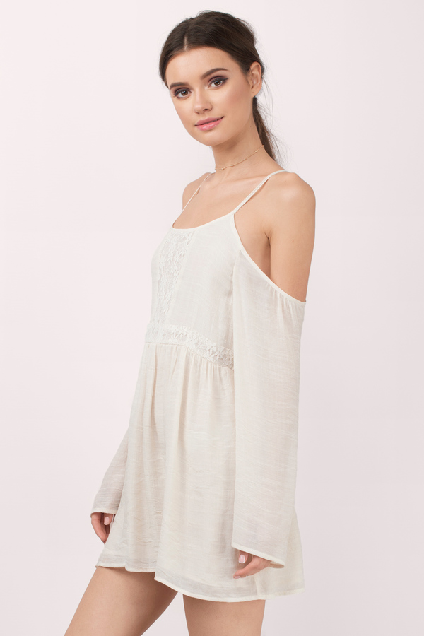 ab5df48e085 Cute Cream Dress - Cold Shoulder Dress - White Swing Dress - Day ...