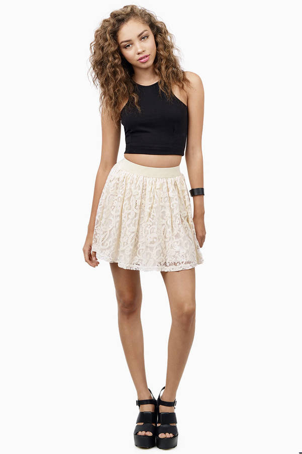 skirt lace cream skater skirts tobi cute mini country tight