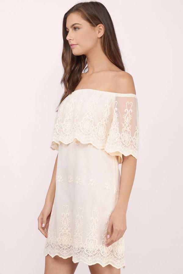 bfdaef4b2a390 White Shift Dress - Lace Overlay Dress - Elegant White Dress -  31 ...
