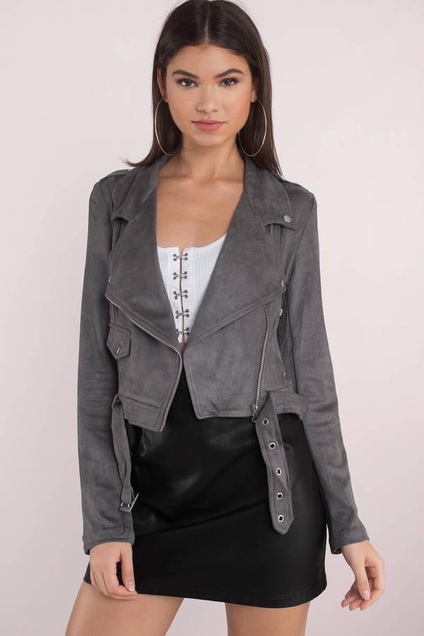 8aae1fcc2d6 Grey Jacket - Casual Moto Jacket - Black Faux Suede Biker Jacket ...