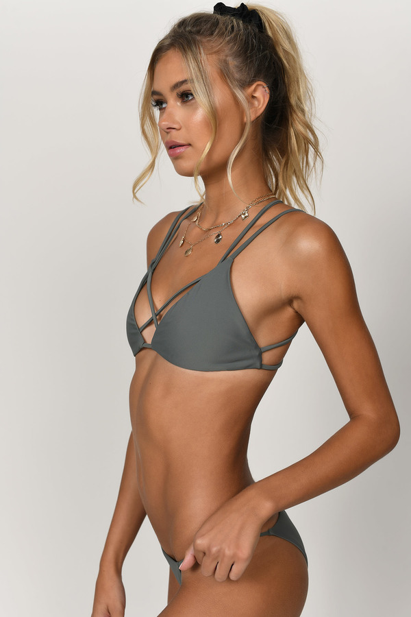 232189355f ... Tobi Swimwear, Dark Olive, Only Chance Triangle Bikini Top, Tobi