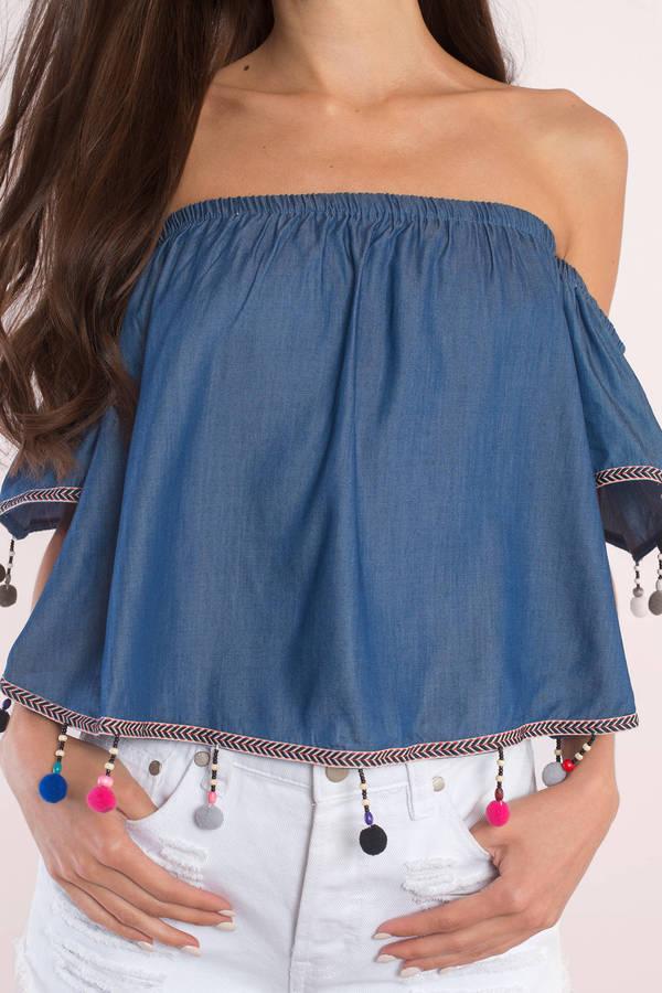 b8df3cdaf56 Dark Wash Blouse - Off Shoulder Blouse - Dark Blue Top - $60 | Tobi US