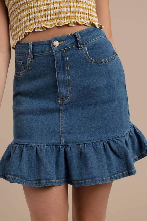 first look latest trends various kinds of Denim Skirts | Black Jean Skirt, White Denim Mini Skirts | Tobi