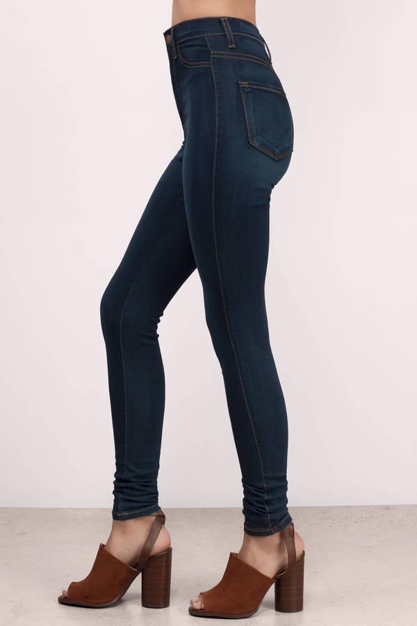 Dark Wash Jeans - Blue Jeans - Skinny Jeans - Dark Wash Pants - $78