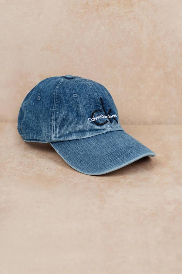 c6db396edcc Blue Calvin Klein Hat - Designer Baseball Cap - Blue Logo Hat ...