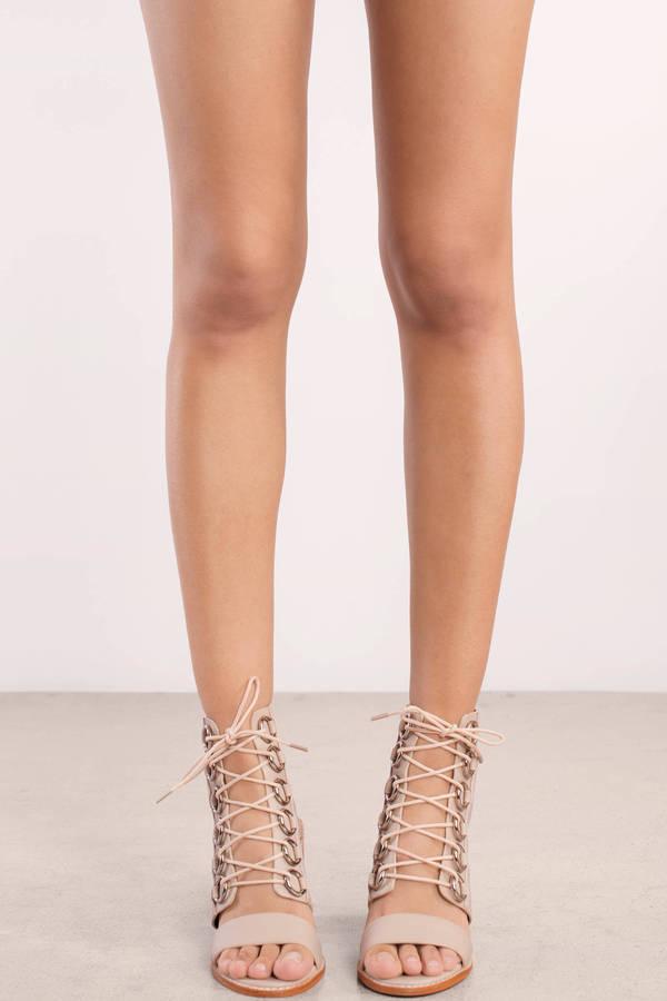 aaf2255508e Blush Pink Sol Sana Heels - Wood Block Heels - Blush Pink Lace Up ...