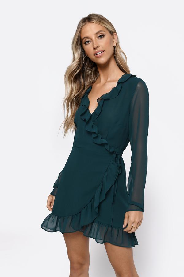 7597958e3d6 Wrap Dresses | Floral, Long Black Satin, Wrap Around Front Tie | Tobi