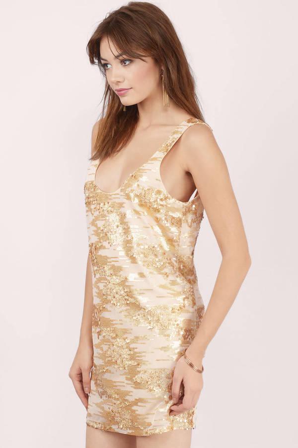 Trendy Gold Shift Dress - Gold Dress - Sequin Dress - $11.00
