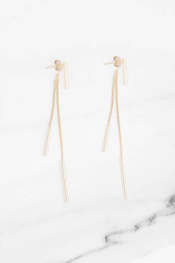 Below Bar Gold Dangle Earrings