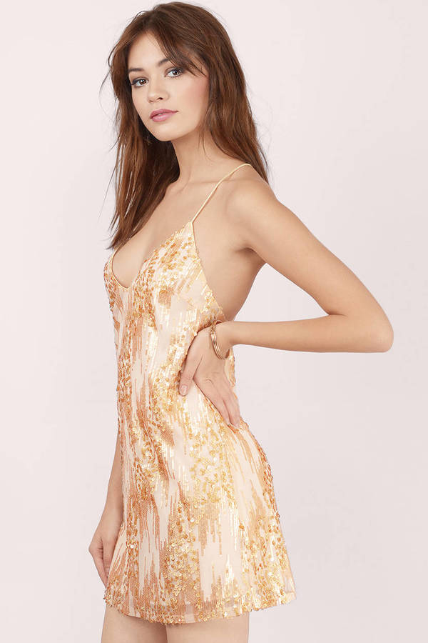 Cute Gold Shift Dress - Gold Dress - Sequin Dress - $12.00