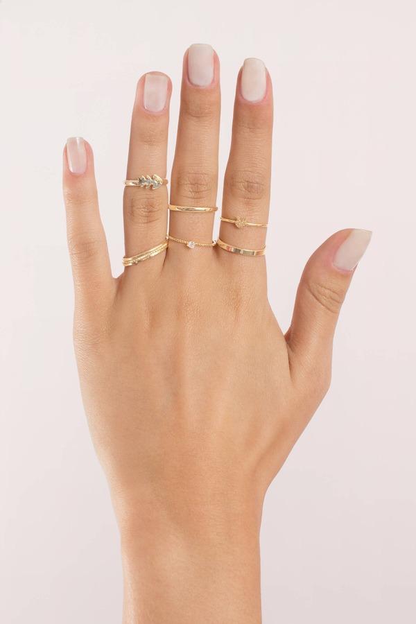 Fish Bone Gold Ring Set 20 Tobi Us