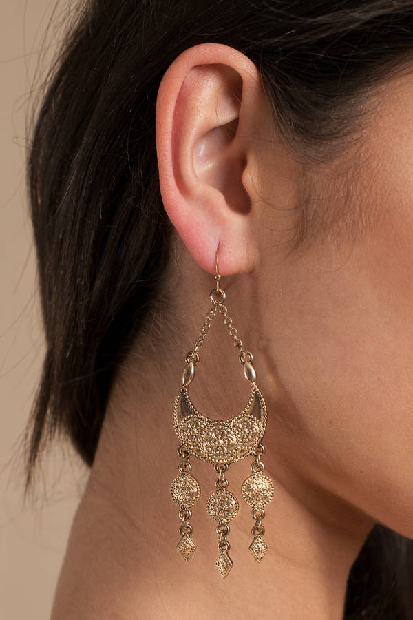 a7b7ae9f225 Midnight Moon Gold Charm Statement Earrings Midnight Moon Gold Charm Statement  Earrings