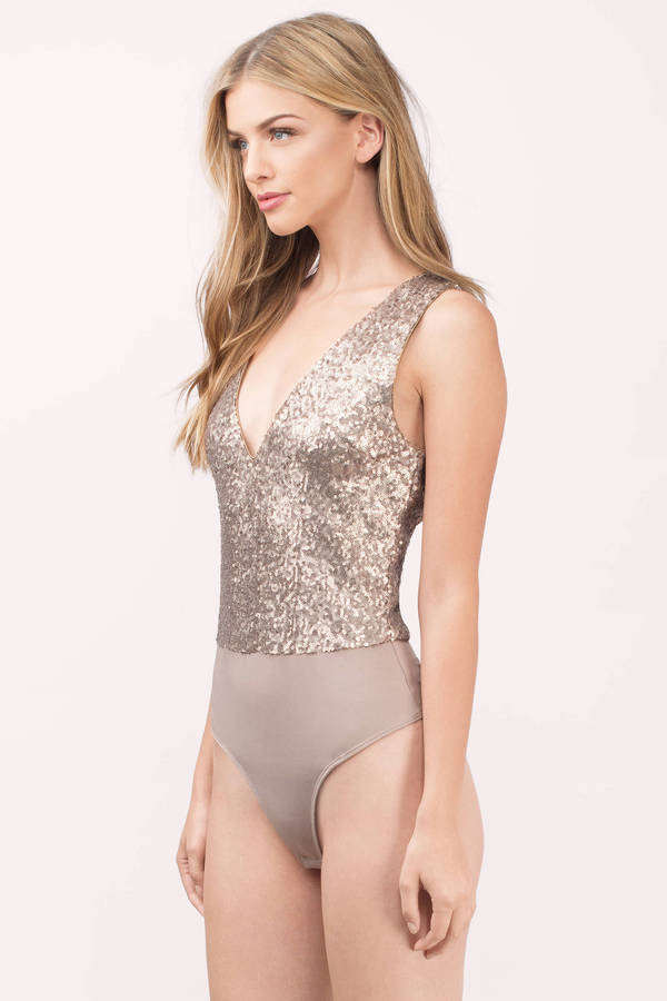 1020db30f6 Gold Bodysuit - Shiny Bodysuit - Gold Plunging Bodysuit -  60