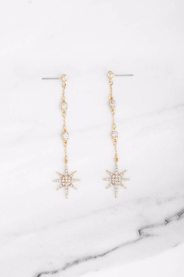 North Star Gold Dangle Earrings