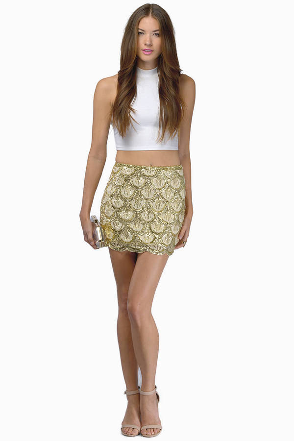 Cute Gold Skirt - Gold Skirt - Sequined Skirt - $17.00