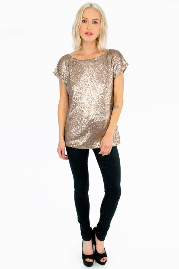 Seeing Sequin Short Sleeve Top