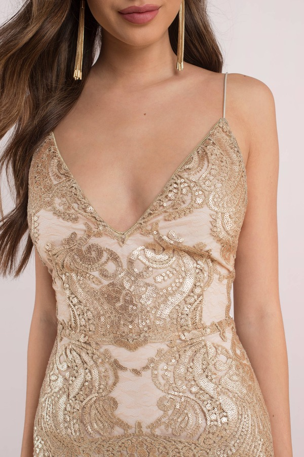 a160b5fb011eb Lovely Gold Bodycon Dress - Cami Dress - Golden Colored Dress - $43 ...
