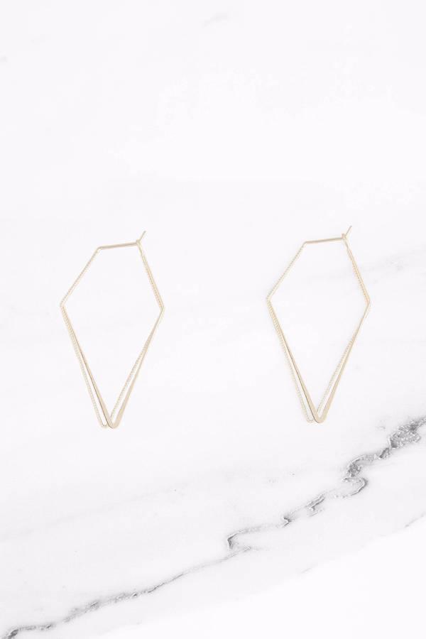 Sims Gold Diamond Shaped Hoop Earrings