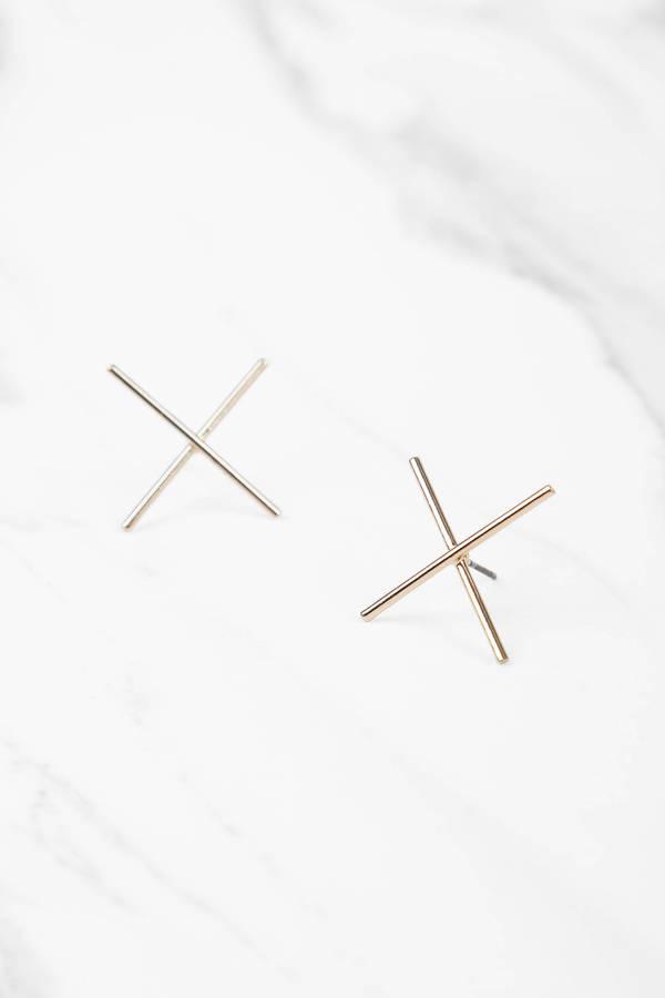 X Marks The Spot Gold Earrings