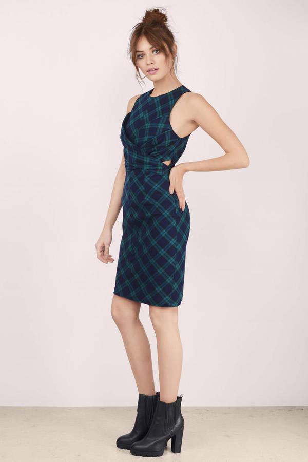 Green   Black Midi Dress - Green Dress - Back Tie Dress - Midi Dress ... 033285f93