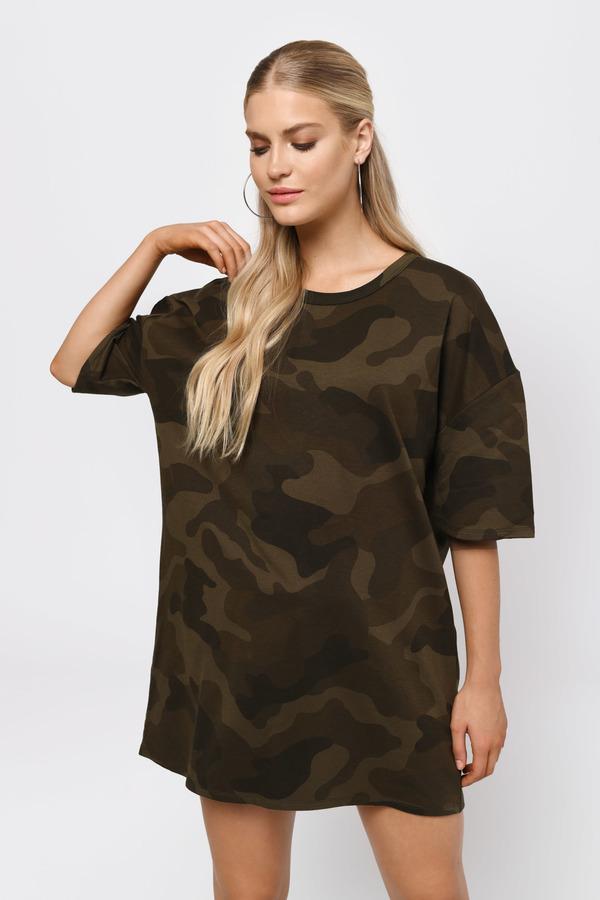 a0e3d9ffaeb Green Shift Dress - Camo Shirt Dress - Green T Shirt Dress - NZ$ 35 ...
