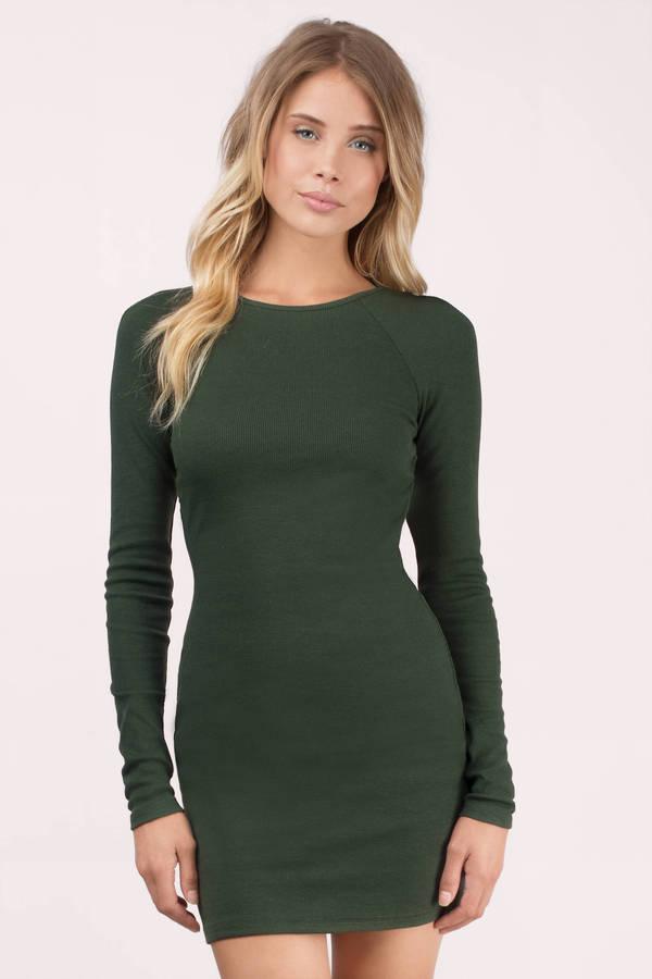 6ba3766cf203 Green Bodycon Dress - Raglan Dress - Forest Green Long Sleeve Dress ...