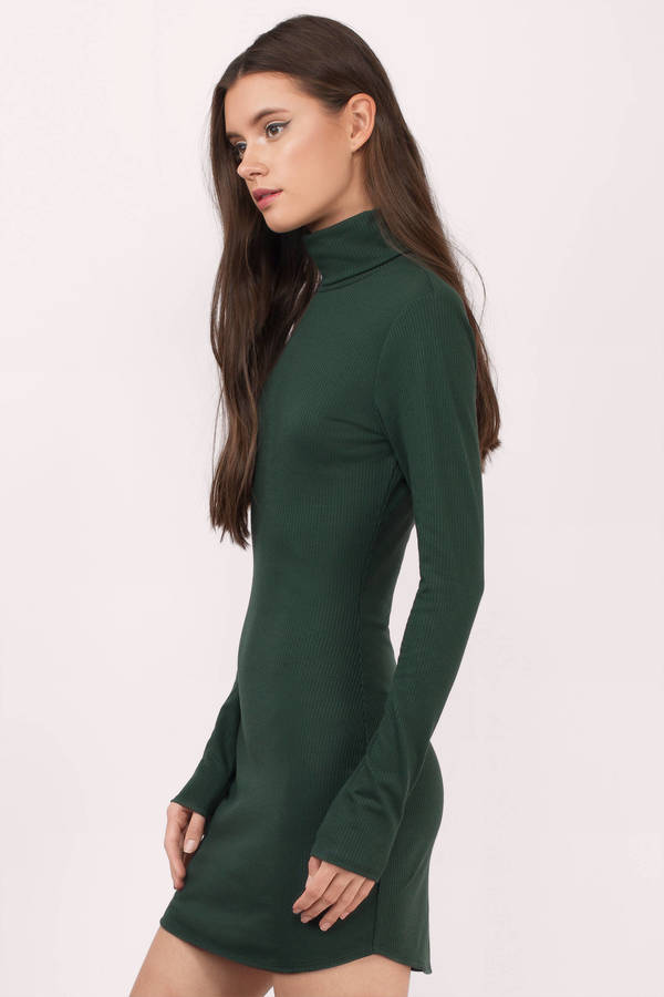 Cute Black Bodycon Dress - Turtleneck Dress - $56.00