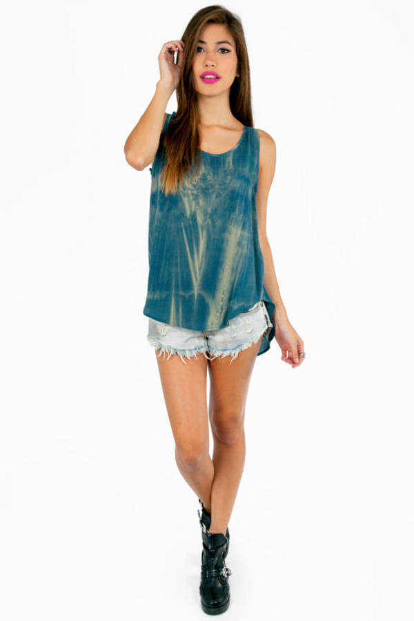 Caged Back Tie Dye Tank Top