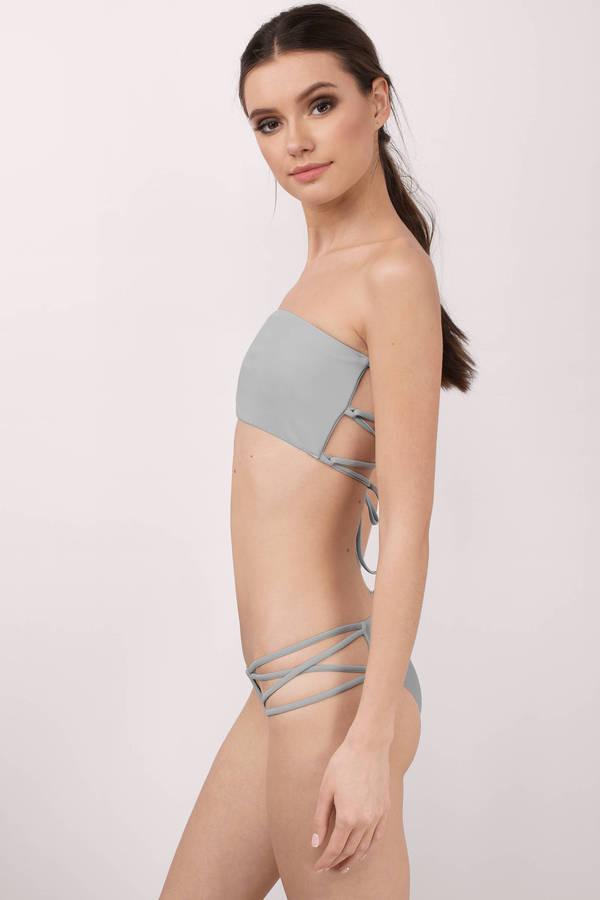 786d5ff8694a2 Strappy Swimwear - Grey String Bikini - Grey Bikini Bottom - € 8 ...