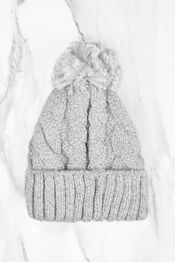 Alexandria Grey Knitted Pom Pom Beanie by Tobi