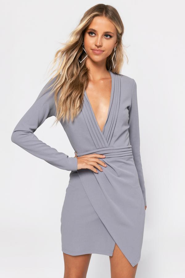 Cute Bodycon Dress - Long Sleeve Dress - Grey Dress - $62 | Tobi US