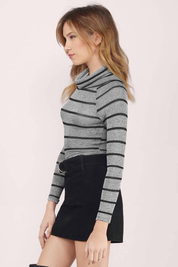 5a847667cf6e1 Nadia Grey   Black Striped Sweater Nadia Grey   Black Striped Sweater ...