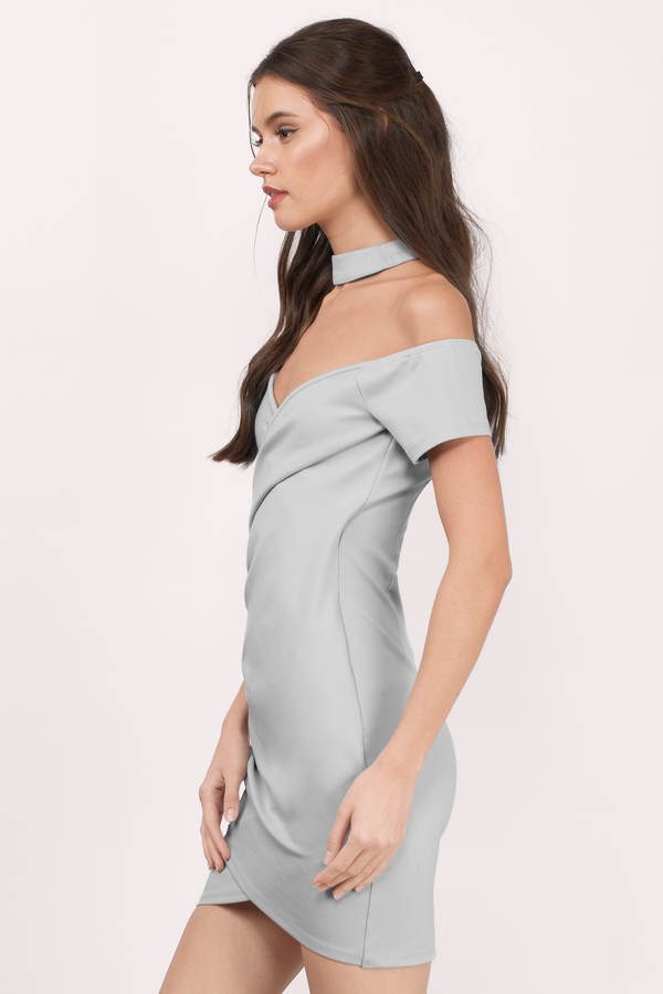 Cute Grey Dress - Off Shoulder Dress - Stretch Dress - Bodycon Dress ...