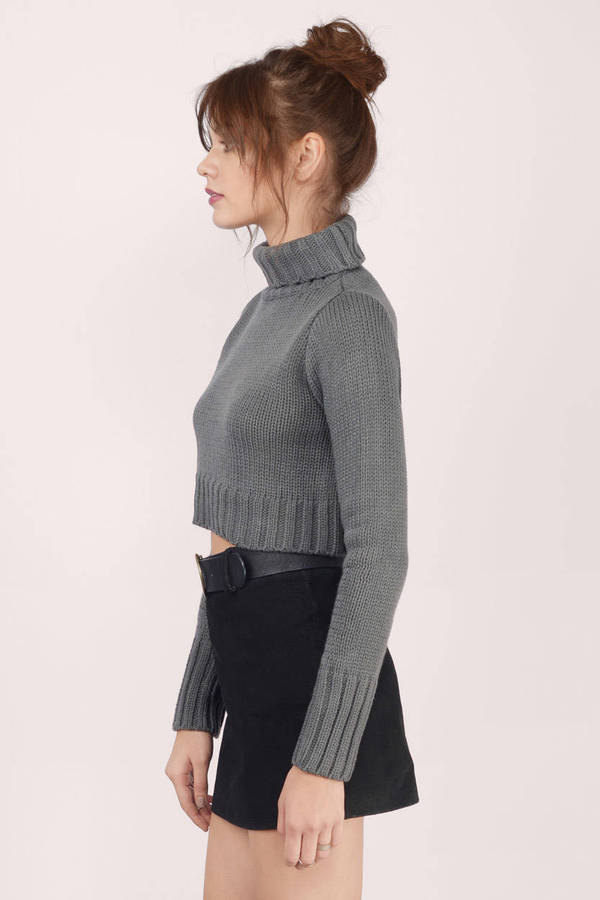 Grey Sweater - Turtleneck Sweater - Dark Grey Sweater - $12 | Tobi US