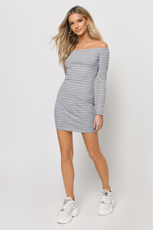 Grey Sweater Dress Long Sleeve Striped Dresses Bodycon