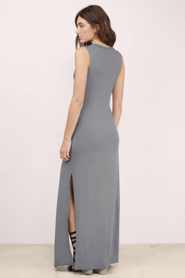 Trendy Grey Maxi Dress - Grey Dress - Cut Out Dress - $11.00