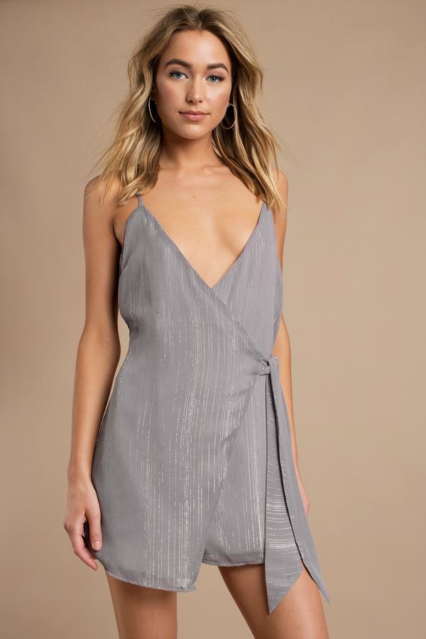 d71c5140cdb Sexy Grey Shift Dress - Front Tie Dress - Grey Wrap Dress -  27 ...