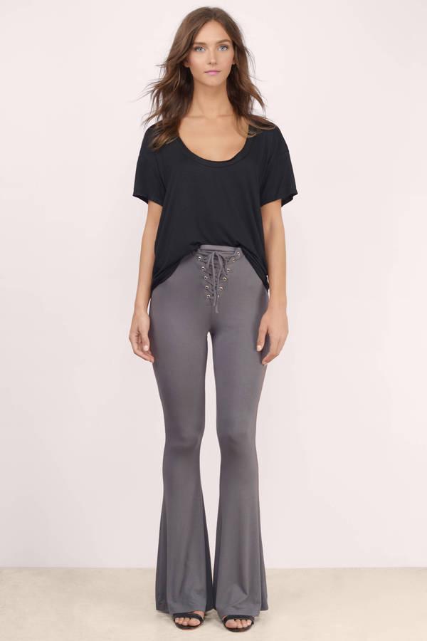 Trendy Grey Pants - Flared Pants