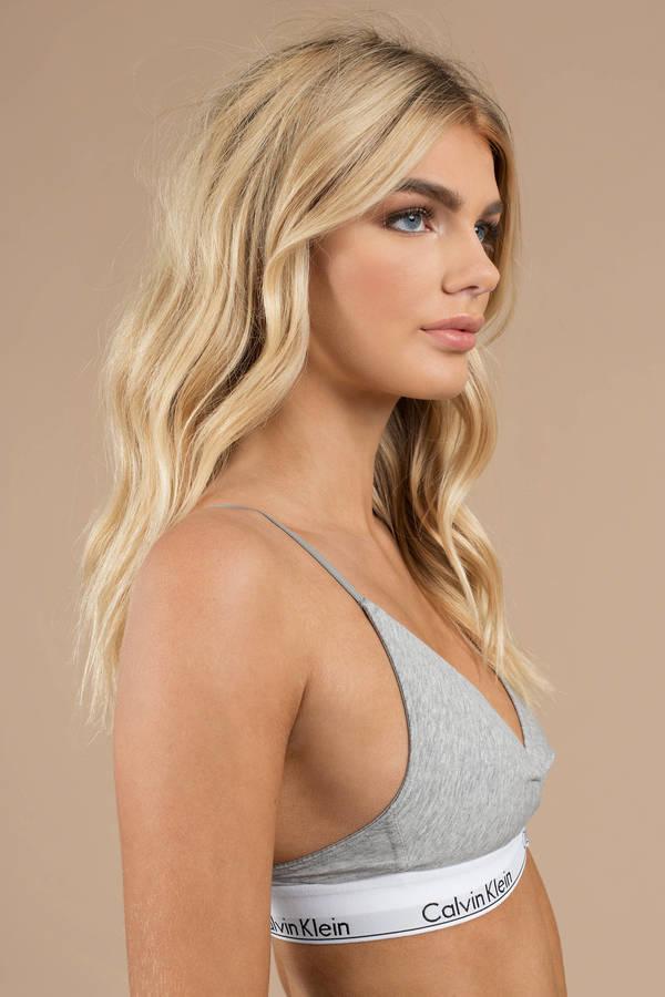a01ae39ad3c99f ... Calvin Klein Calvin Klein Modern Grey Cotton Unlined Triangle Bralette  ...