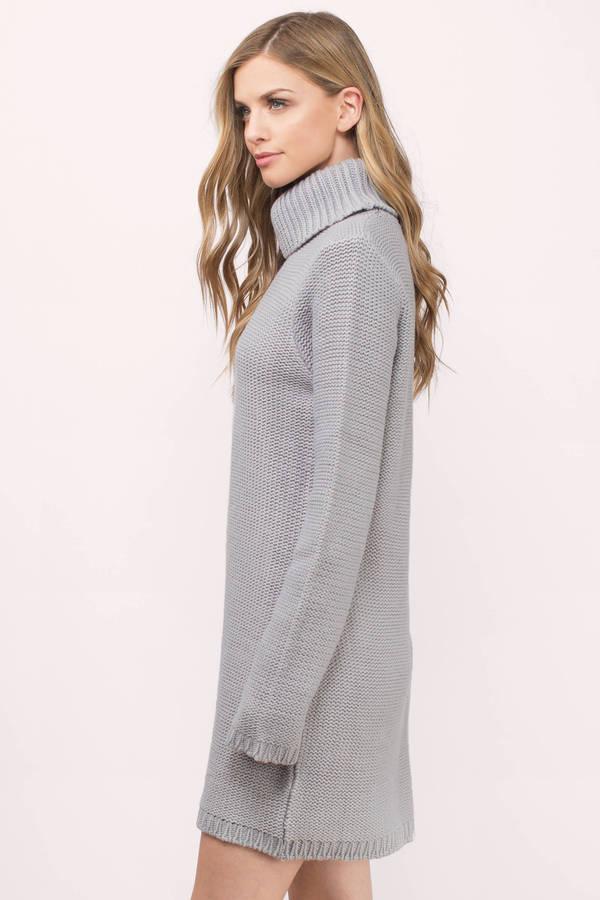 Cute Grey Day Dress - Grey Dress - Turtleneck Dress - $23.00