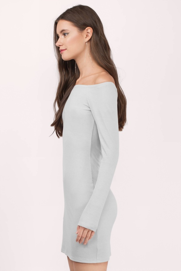 6254174410 Off My Shoulder Grey Bodycon Dress Off My Shoulder Grey Bodycon Dress ...