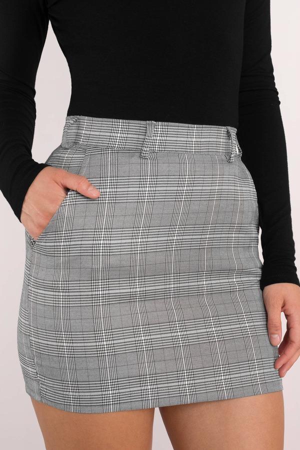 9d679d790f3e Grey Skirt - Preppy Pencil Skirt - Grey Plaid Mini Skirt - $58 | Tobi US