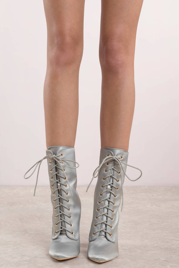 Chic Grey Boots - Lace Up Mid Calf